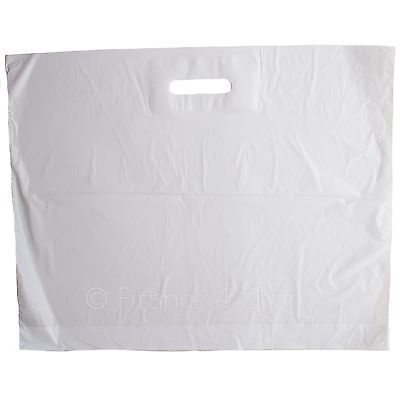 200 X Strong LARGE WHITE Patch Handle 22  X 18  + 3 Carrier Retail Plastic Bags  • 16.95£