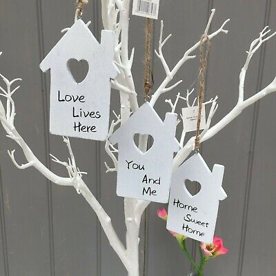 £5.99 • Buy Little Shabby House Shaped Hanging Signs Heart Cut Out Wishing Tree,Wall Plaques