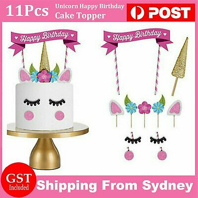 AU5.99 • Buy 11Pcs Unicorn Happy Birthday Party Cake Topper Set Eyes Ear Kids Girls Decoratio