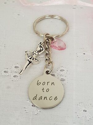 Born To Dance Ballet Dancer Tutu Keyring Bag Charm With Gift Bag Ballerina • 3.80£