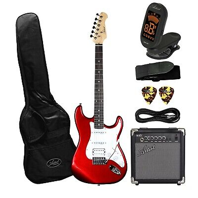 AU249 • Buy Artist STH Candy Apple Red Electric Guitar With 10 Watt Amp - New