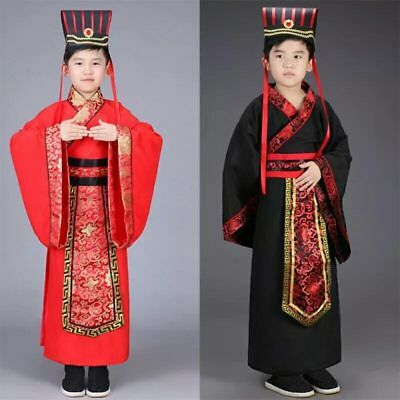 £29.87 • Buy Chinese Boys Han Clothing Emperor Show Cosplay Suit Robe Costume With Hat