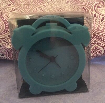 Teal Rubber Silicone Alarm Clock Cool Unique Retro Look Novelty • 9.64£