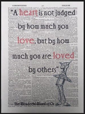 10th Wedding Anniversary Gift Idea Tin Man Quote Dictionary Page Wall Art Print • 5£