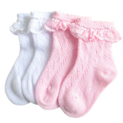 £2.74 • Buy Baby Girls Cotton Socks Babies Ankle Length Short Socks With Lace And Satin Bows