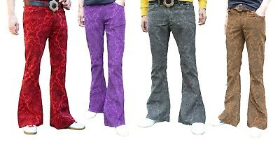 £36.99 • Buy Mens Bell Bottoms FLARES Jeans Trousers Corduroy Cords Hippy Paisley 60s 70s NEW