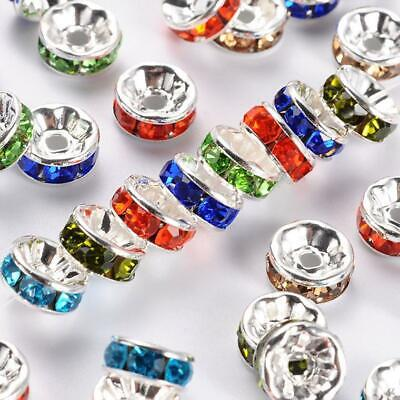 £2.99 • Buy 50 PREMIUM QUALITY GRADE A RHINESTONE RONDELLE COLOURED SPACER BEADS 8mm