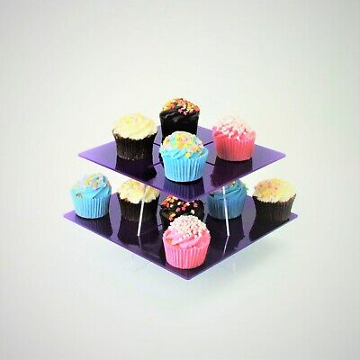 £16.50 • Buy Large Square Tiered Acrylic Cupcake Stands - 56 Colours - Party - Afternoon Tea