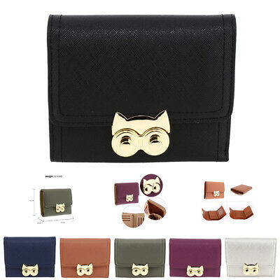 Designer Ladies Purse With Gold Metal Work Womens Owl Flap Leather Wallet New • 9£