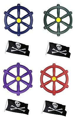 Kids Climbing Frame Pirate Wheel Available In 4 Colours Plus A FREE Pirate Flag • 12.99£