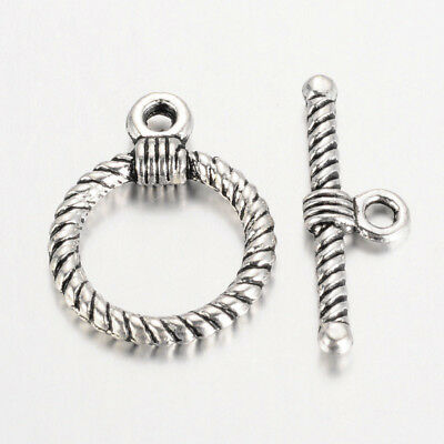 £3.95 • Buy 25 Round Rope Antique Silver Toggle Sets Clasps Jewellery 17mm X 22mm (F400G)