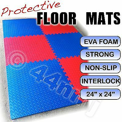 Anti-fatague Flooring Mats Tiles Checked Gym Play Room Garge RED & BLUE • 33.99£