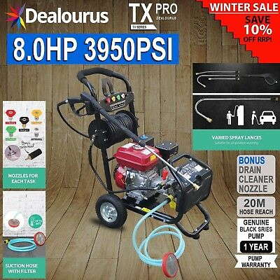 Petrol Pressure Washer - 8.0HP 3950psi AWESOME POWER T-MAX PRO 28 METER HOSE • 319.99£