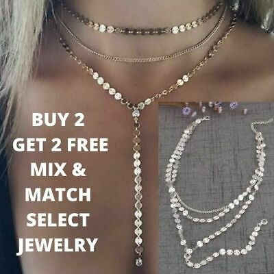 AU21.05 • Buy Coin Drop Lariat Choker Necklace Y Chains Rhinestone Sequin Discs Gold Silver