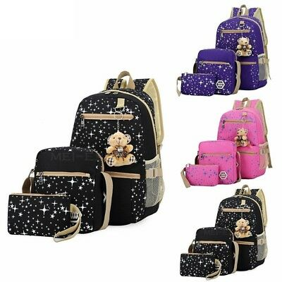 $17.08 • Buy 3 Piece Womens Girls School Backpack Bookbag Shoulder Bag Rucksack Travel Canvas