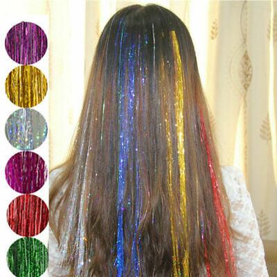 100 Strands Holographic Sparkle Woman Hair Glitter Tinsel Extensions Dazzles UK • 1.69£