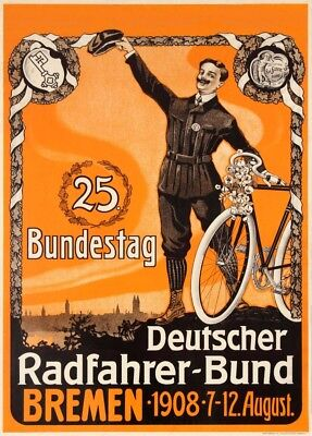 Cycling Tour, Germany,  August 1908, Vintage Classic Cycling Poster • 6.99£