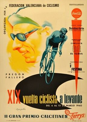 Valencia To Levantev Bicycle Race, Spain, 1960, Vintage Classic Cycling Poster • 6.99£