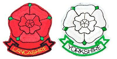 County Rose Iron On Patch Sew Badge Motif Red White Lancashire Yorkshire • 1.99£