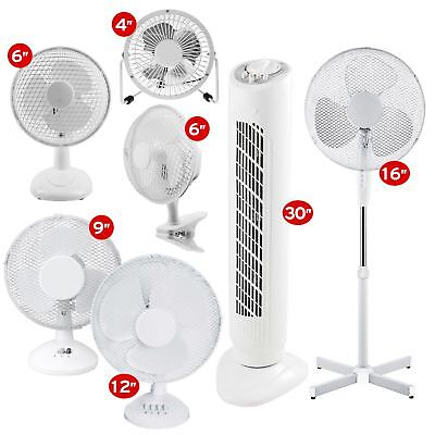 White Cooling Fan Desktop Pedestal Oscillating Stand Home Office Cool Air Tower • 12.45£