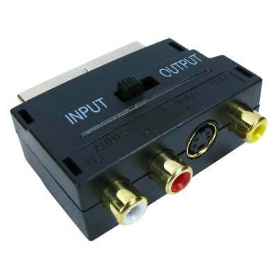 SCART To 3 RCA Composite Phono SVHS S-Video Adaptor In Out Switch Converter GOLD • 2.99£