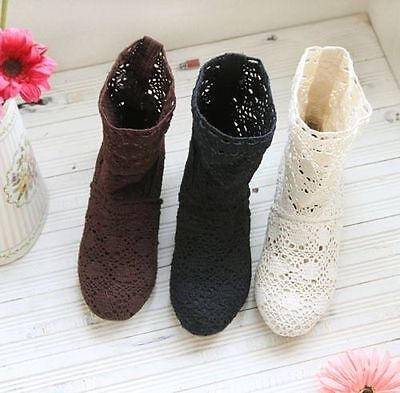 £30.24 • Buy Womens Calf Boots Summer Block Heel Hollow Lace Breathable Knitted Casual Shoes