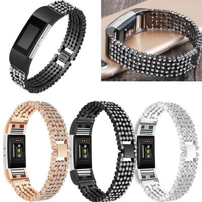 AU15.58 • Buy Crystal Beads Steel Watch Band Strap Replacement For Fitbit Charge 2 Smart Watch