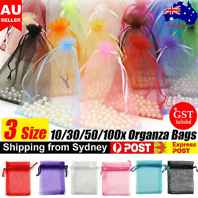 AU9.89 • Buy 10-100Pcs 3 Size Organza Bag Sheer Bags Jewellery Wedding Candy Packaging Gift