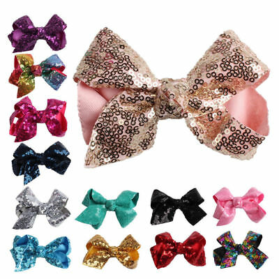 $0.83 • Buy New Alligator Clips Large Sequin Big Bow Hair Clip Girls Kids Sides Accessories