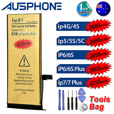 AU9.95 • Buy NEW High Capacity Battery Replacement For Apple IPhone 4S 5S 5C 6 6S 7 PLUS AU