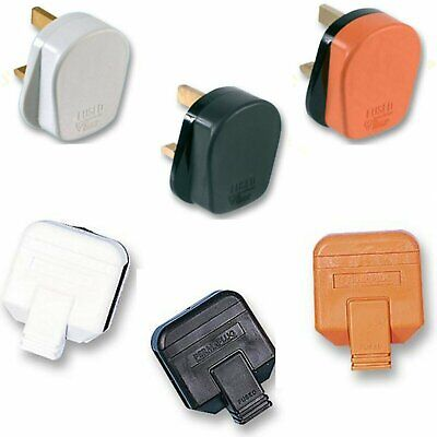MAINS RUBBER UK 3 PIN FUSED PLUG,3A 5A 10A 13A BLACK WHITE ORANGE Heavy Duty • 2.95£