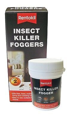 2 X Rentokil Insect Killer Foggers Kills Flies Moths Fleas Bed Bugs Bomb Poison • 13.99£