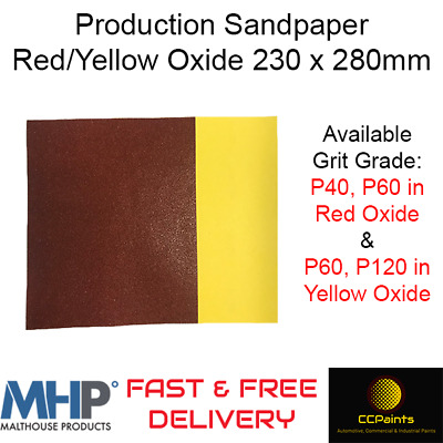 Production Sandpaper 230 X 280mm Red/Yellow Oxide P60/P120 - MHP  • 3.99£