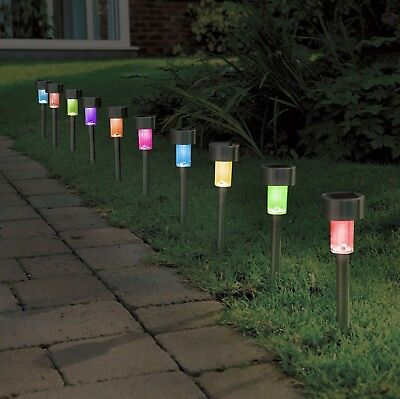 10 X Colour Changing Stainless Steel Solar Powered Garden Lights Lanterns • 11.99£