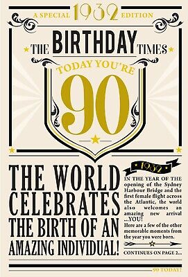 90th Birthday Card 1930 Year You Were Born Male Newspaper Style Design Card • 3.95£