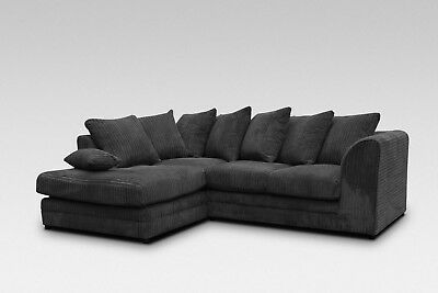 Byron Corner Sofa Fabric Jumbo Cord Grey Black Mink Chocolate • 399.99£