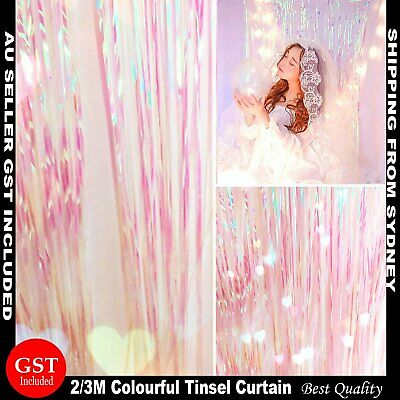 AU6.75 • Buy Metallic Tinsel Curtain Foil 2m 3m Backdrop HenParty Birthday Wedding Decoration
