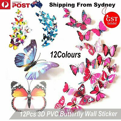AU4.99 • Buy 12PCS 3D Butterfly Wall Removable Sticker Decals Kids Art Nursery Decor Magnets