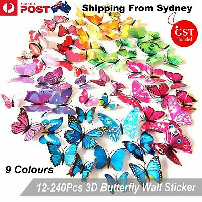 AU4.99 • Buy 12-240Pcs 3D Butterfly Wall Removable Stickers Decals Kids Art Nursery Magnets D