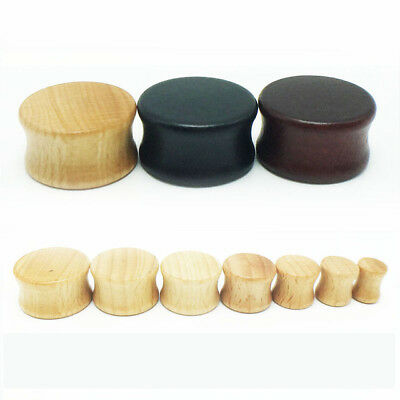AU6.57 • Buy 1x 8-30mm Solid Wood Timber Double Flare Tunnel Ear Plug Stretcher Earring Gauge