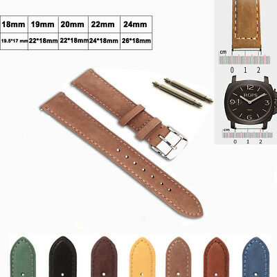 Universal Genuine Cowhide Leather Replacement Watch Strap Watch Band Men Women • 3.59£