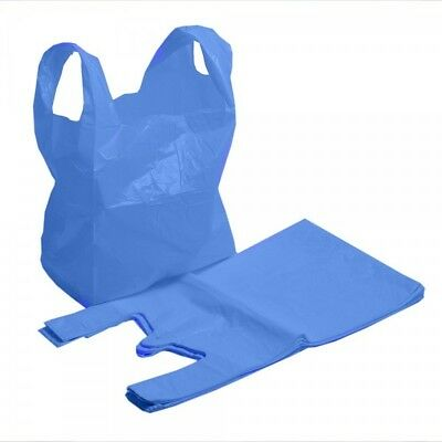 STRONG QUALITY Blue Plastic Vest Carrier Bags 11x17x21  Shopping Takeaways 18mu • 4.90£