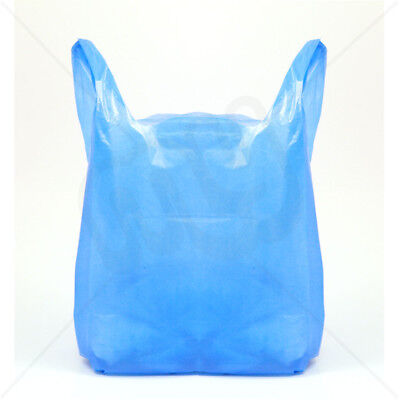 STRONG NEW Blue Plastic Vest Carrier Bags 11x17x21  Shopping Takeaways 18mu • 3.90£