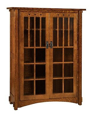 $2279 • Buy Amish Mission Arts And Crafts Bookcase Glass Doors Solid Wood Furniture 60