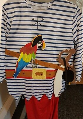 Childrens Blue Striped Pirate Fancy Dress Costume Aged 9-10 • 11.99£