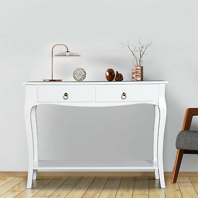 HOMCOM Console Table 2 Drawers Hall Sideboard  Dressing Table Desk Ivory White • 79.99£