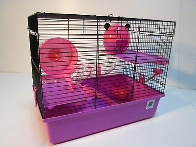 Dexter Large Dwarf Hamster Small Pet Cage 2 Tier - Blue & Lime, Pink & Purple • 29.99£