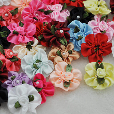 40pcs Satin Ribbon Flowers Bows W/pearl Wedding/sewing/appliques Lots A01 • 2.99£
