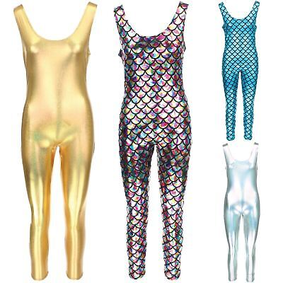 Sleeveless Catsuit Bodysuit Jumpsuit Romper Trousers GOLD SILVER Mermaid Scales • 19.90£