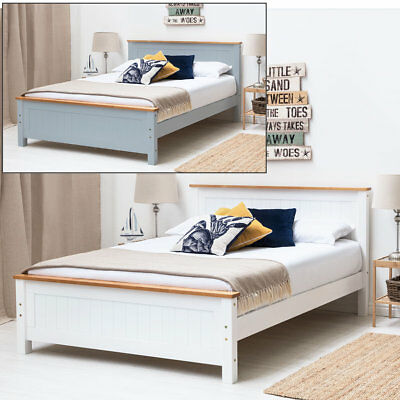 Modern Wooden Bed Frame Oak Trim Single Double King Size White / Grey • 199.99£